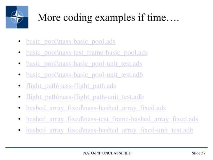 More coding examples if time….