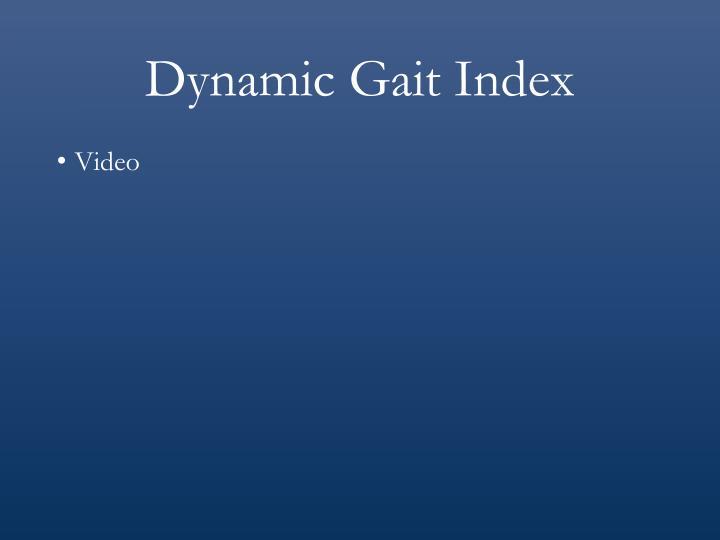 Dynamic Gait Index
