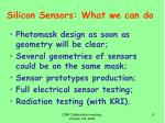 silicon sensors what we can do