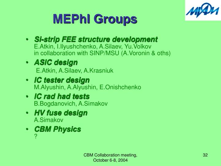 MEPhI Groups