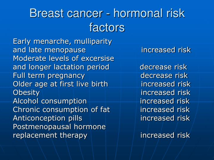 Breast cancer - hormonal risk factors
