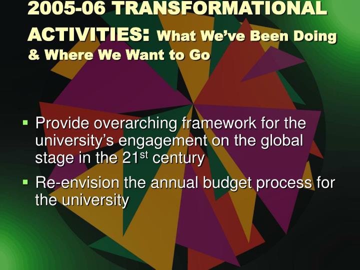 2005-06 TRANSFORMATIONAL