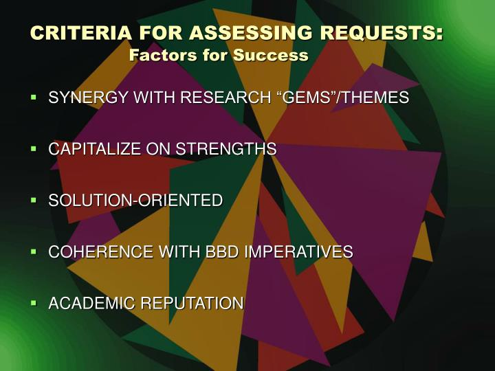 CRITERIA FOR ASSESSING REQUESTS