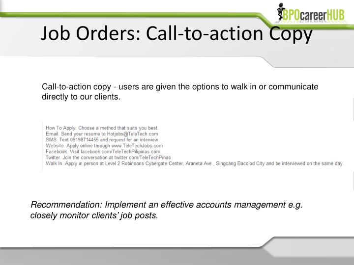 Job Orders: Call-to-action Copy