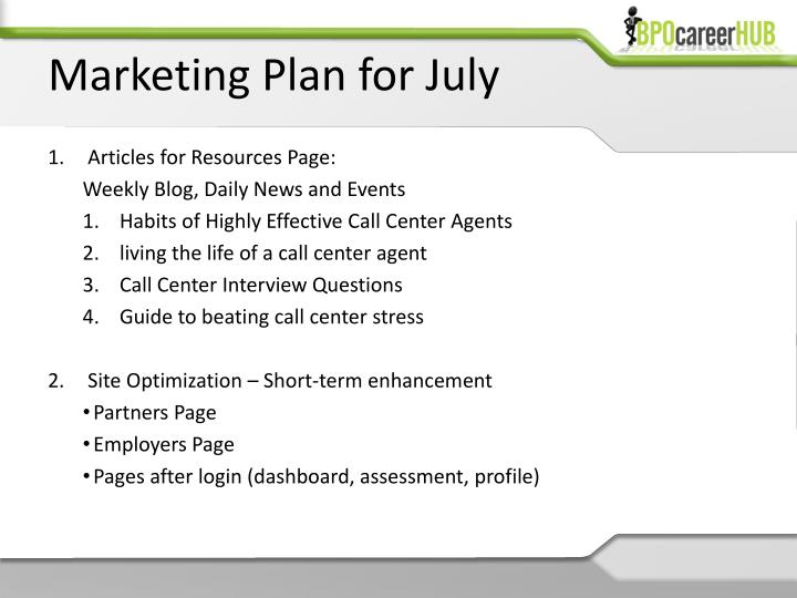 Marketing Plan for July