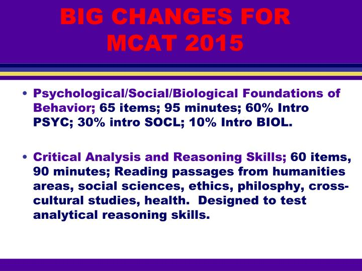 BIG CHANGES FOR MCAT 2015