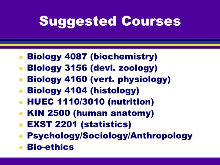 Suggested Courses
