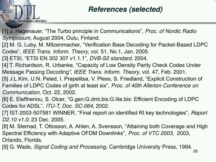 References (selected)