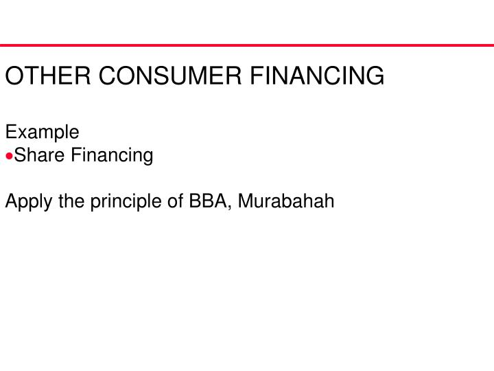 OTHER CONSUMER FINANCING