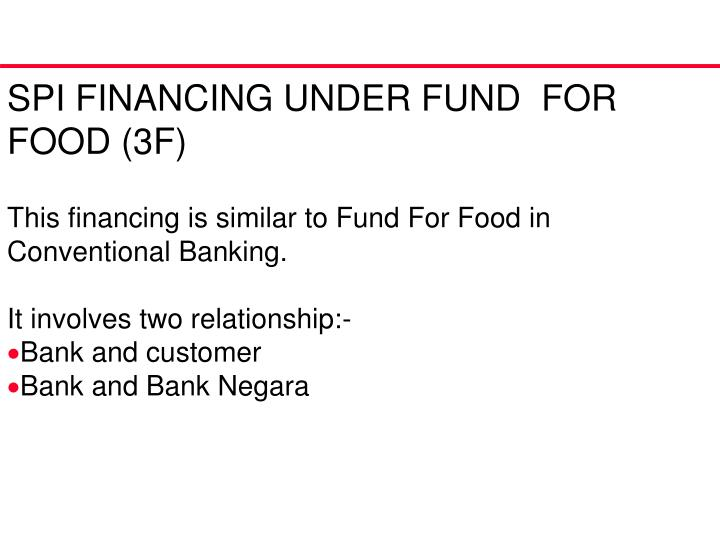 SPI FINANCING UNDER FUND  FOR  FOOD (3F)
