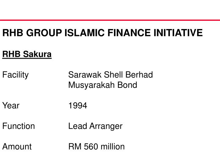 RHB GROUP ISLAMIC FINANCE INITIATIVE