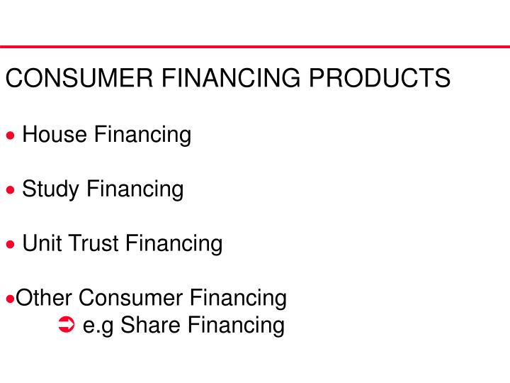 CONSUMER FINANCING PRODUCTS