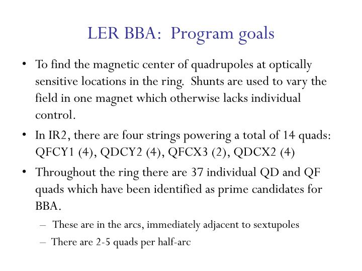 Ler bba program goals