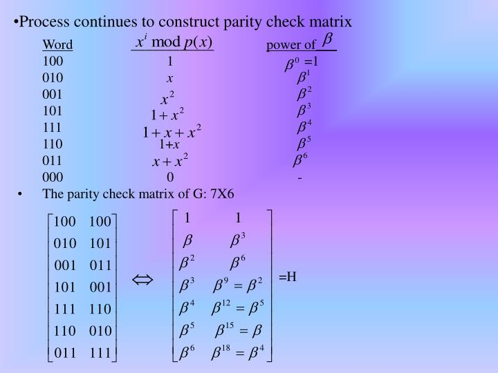 Process continues to construct parity check matrix