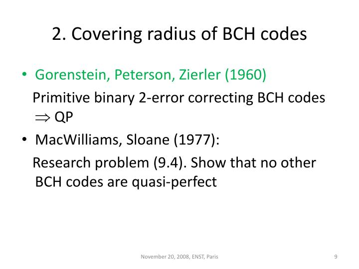 2. Covering radius of BCH codes