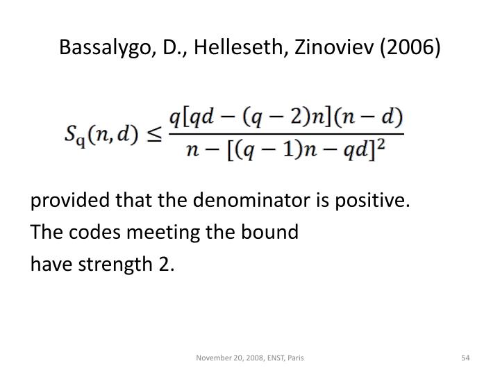 Bassalygo, D., Helleseth, Zinoviev (2006)