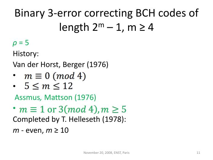 Binary 3-error correcting BCH codes of length 2