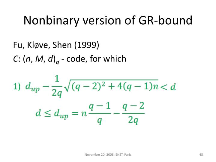 Nonbinary version of GR-bound