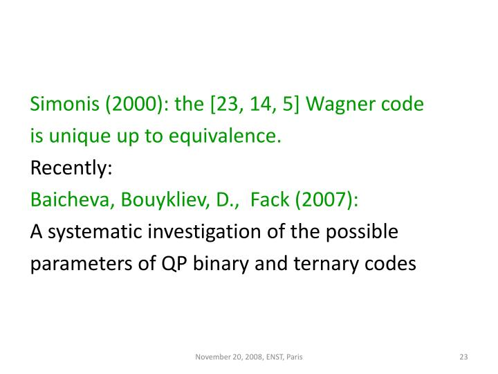 Simonis (2000): the [23, 14, 5] Wagner code