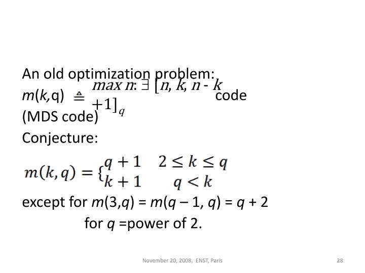 An old optimization problem: