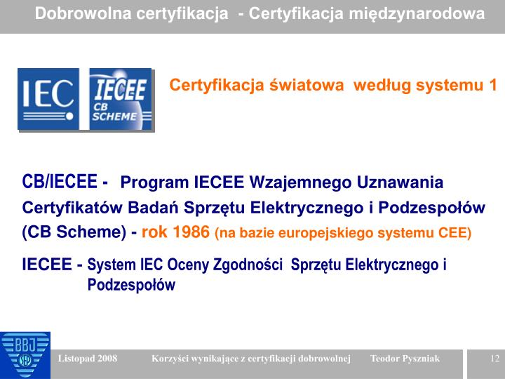 Dobrowolna certyfikacja  - Certyfikacja międzynarodowa