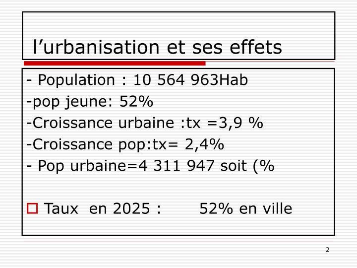 l'urbanisation et ses effets