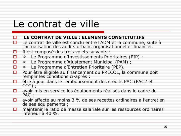 Le contrat de ville