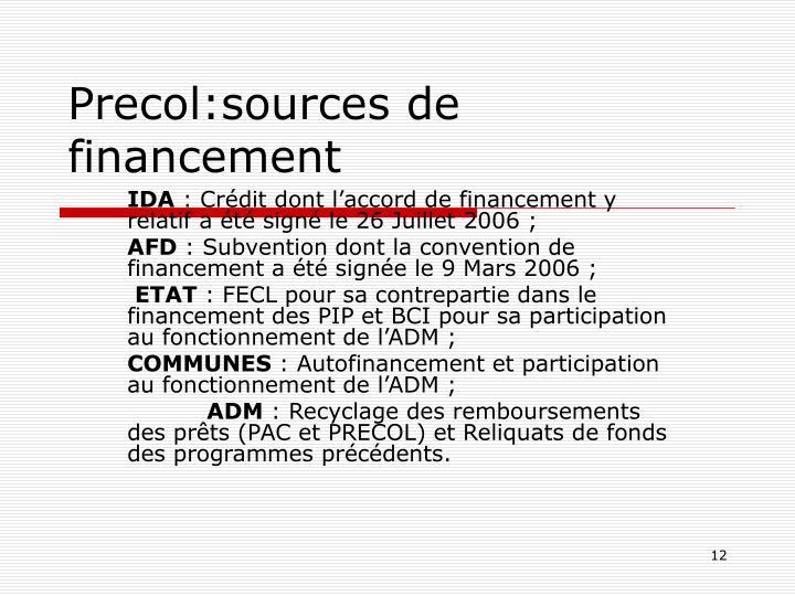 Precol:sources de financement