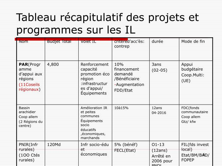 Tableau récapitulatif des projets et programmes sur les IL
