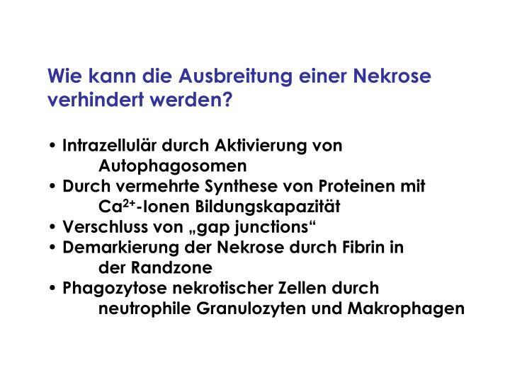 Wie kann die Ausbreitung einer Nekrose