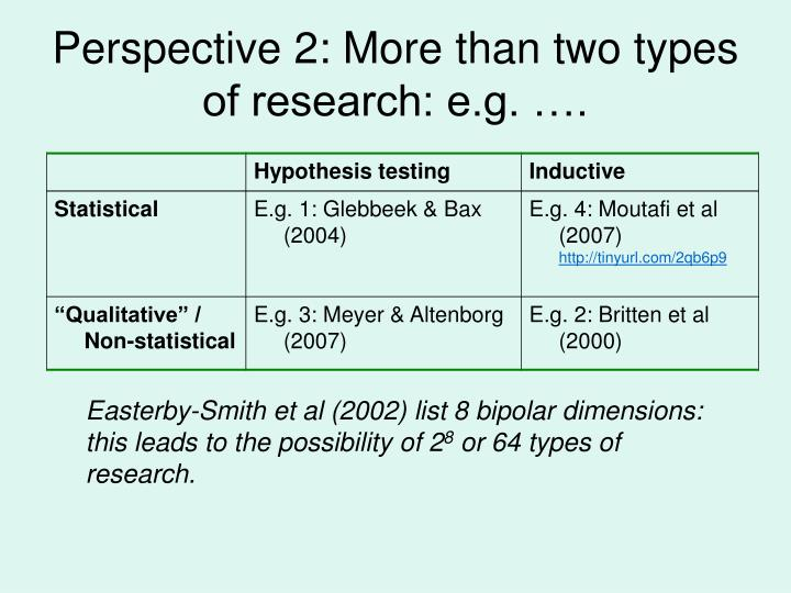 Perspective 2: More than two types of research: e.g. ….
