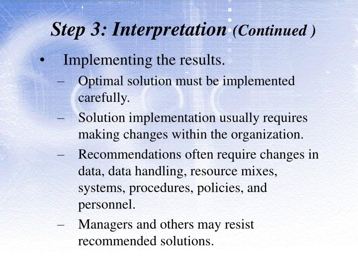 Step 3: Interpretation