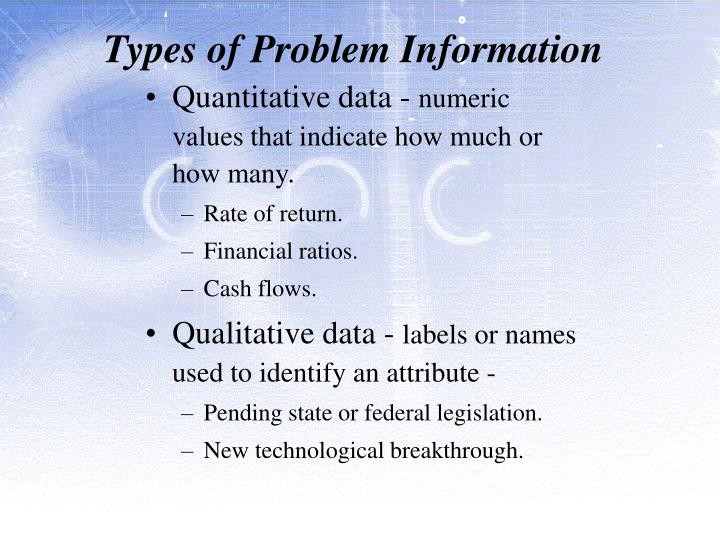 Types of Problem Information