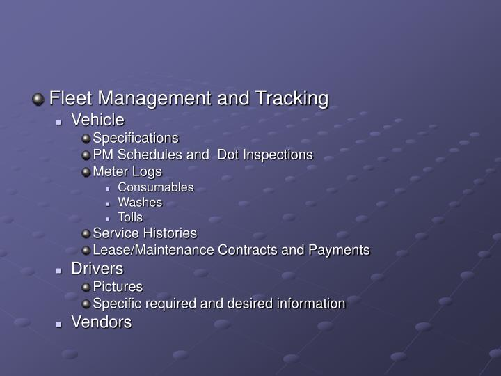 Fleet Management and Tracking
