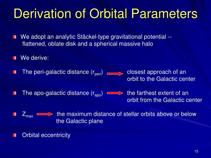 Derivation of Orbital Parameters