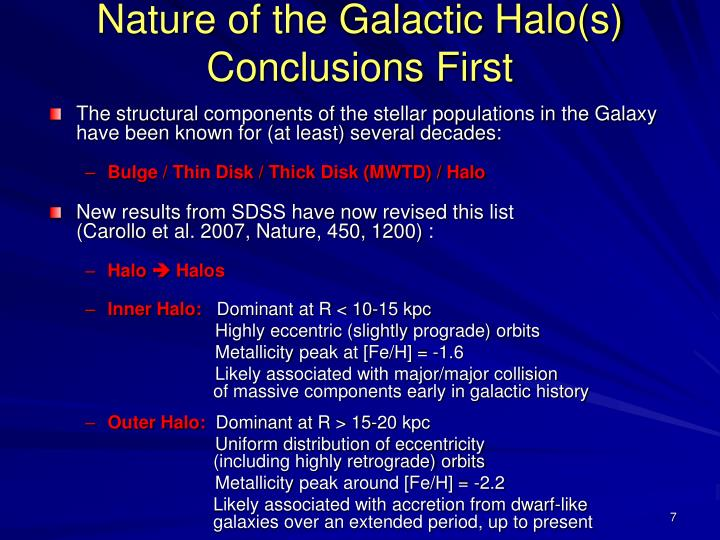 Nature of the Galactic Halo(s) Conclusions First