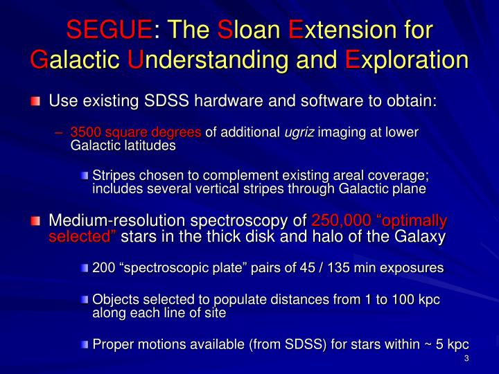 Segue the s loan e xtension for g alactic u nderstanding and e xploration
