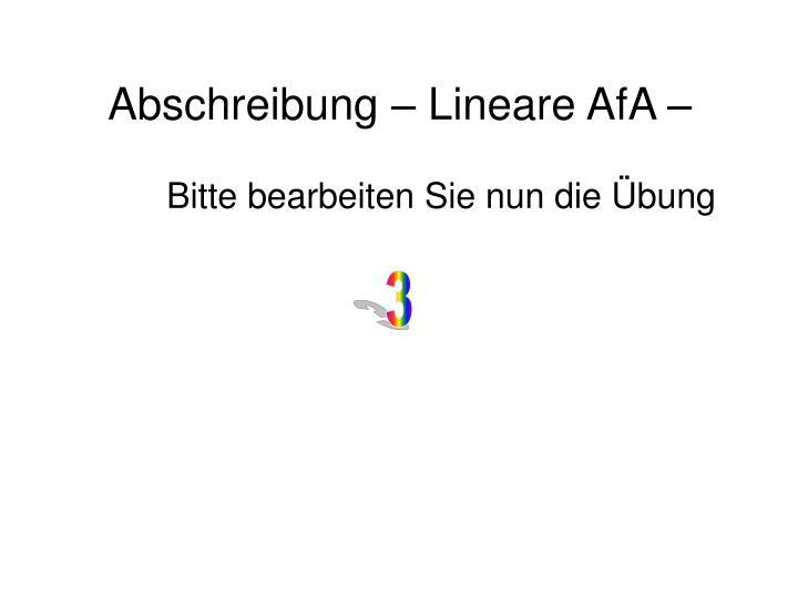 Abschreibung – Lineare AfA –