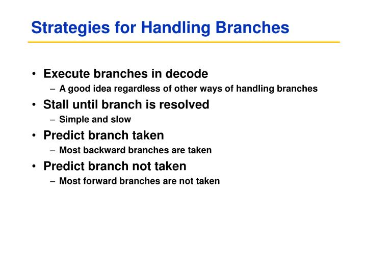Strategies for Handling Branches