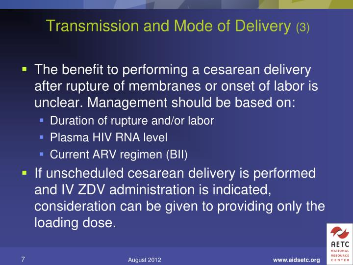 Transmission and Mode of