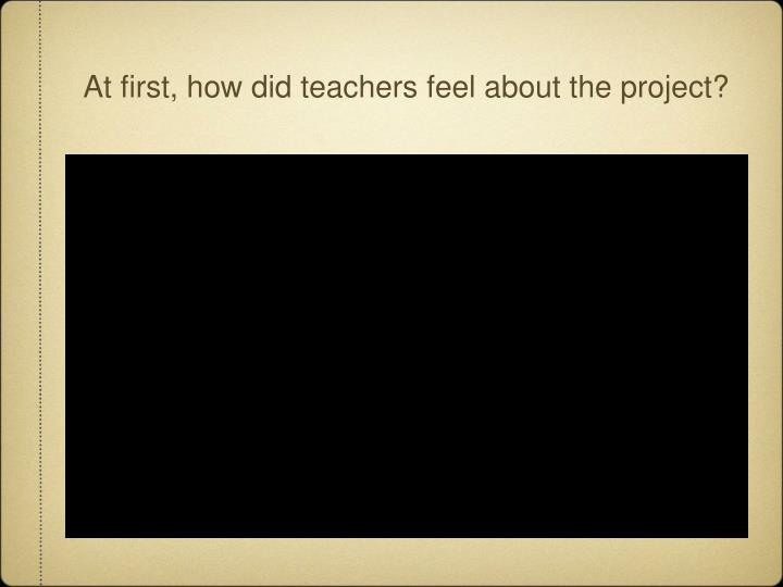 At first, how did teachers feel about the project?