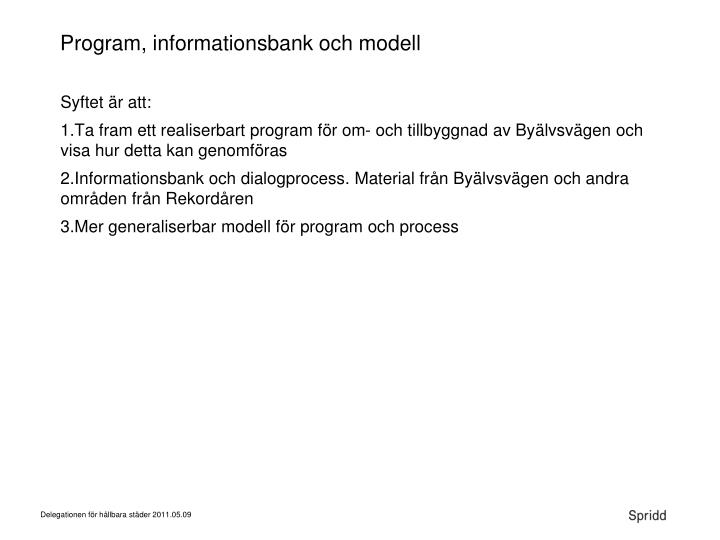 Program, informationsbank och modell
