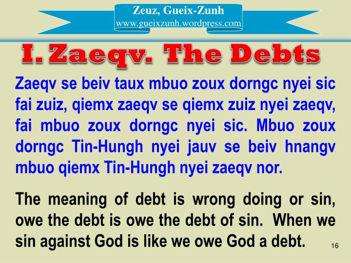 I. Zaeqv.  The Debts