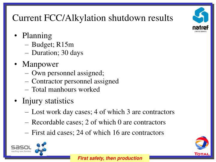 Current FCC/Alkylation shutdown results