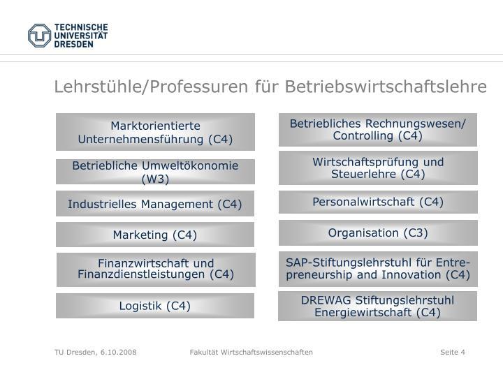 Lehrstühle/Professuren für Betriebswirtschaftslehre