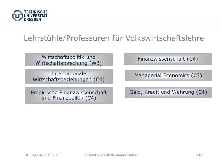 Lehrstühle/Professuren für Volkswirtschaftslehre