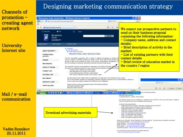 Designing marketing communication strategy