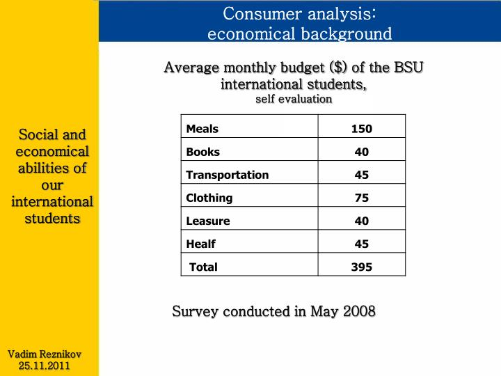 Consumer analysis