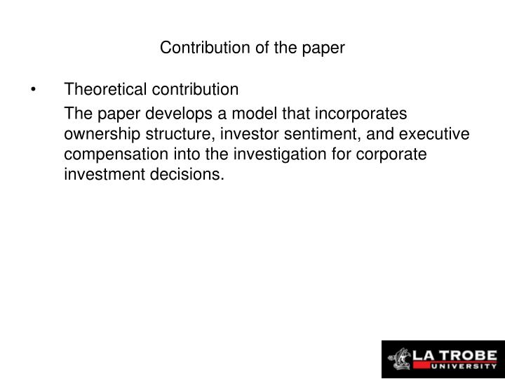 Contribution of the paper