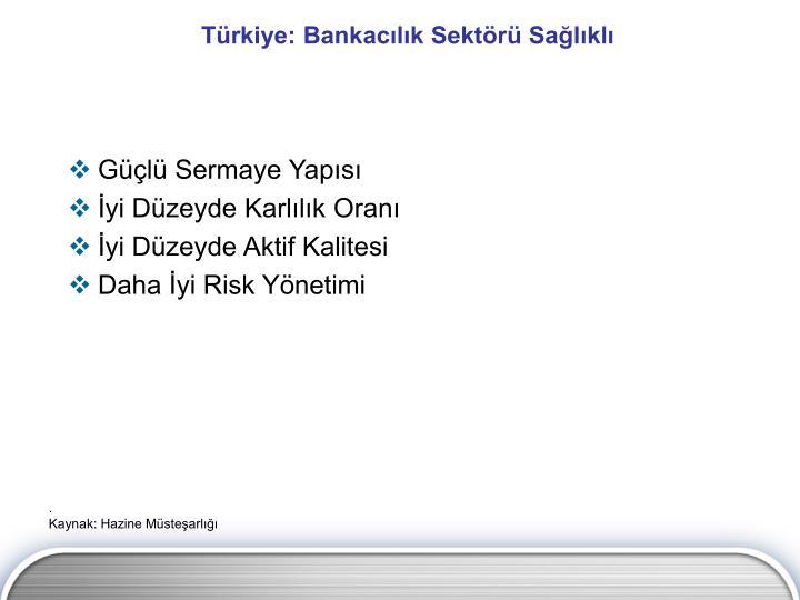 Türkiye: Bankacılık Sektörü Sağlıklı